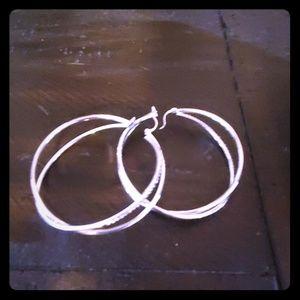 Large double hoop earrings